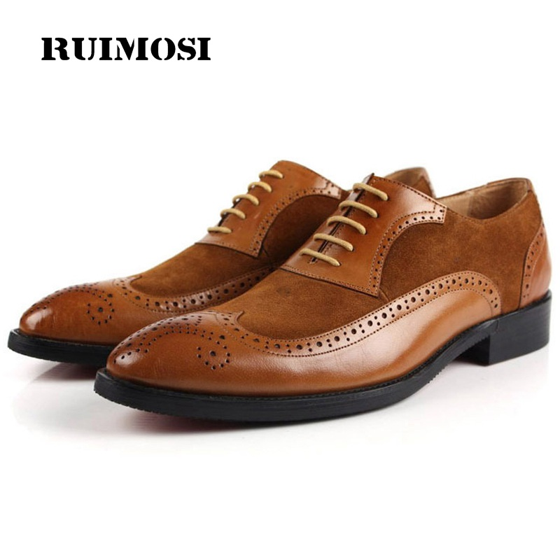 RUIMOSI Wing Tip Man Dress Shoes Genuine Leather Suede Brogue Oxfords Male Luxury Brand Round Toe Formal Men's Flats IH48