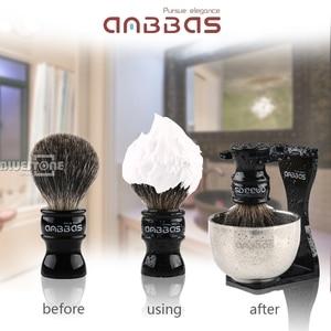 Image 2 - Anbbas แปรงโกนหนวด Badger Hair,สีดำอะคริลิค,ชาม,สบู่ชุด