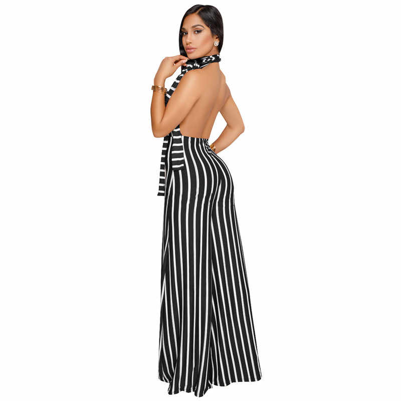 cc1d6cd63a6 ... Backless Striped One Piece Jumpsuit 2019 New Fashion Women Outfits Sexy  Rompers Elegant Overalls Wide Leg ...