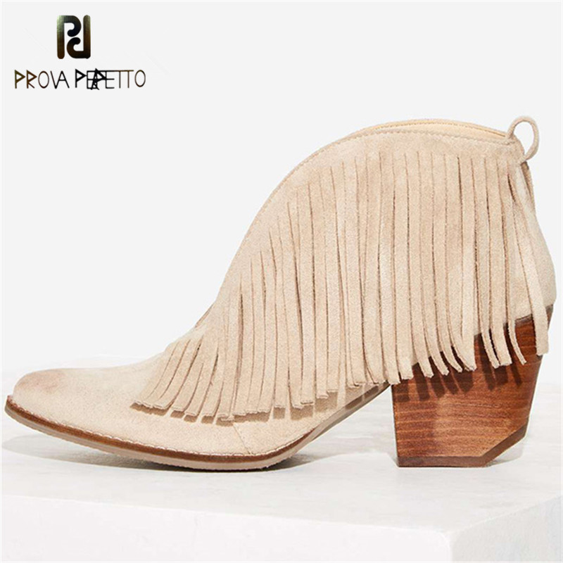 Prova Perfetto Sexy Front V Open Women Ankle Boots Pointed Toe Slip On Tassels Women Pumps Chunky High Heel Fringed Martin Boots крем lumene nurturing eye cream for all skin types 15 мл