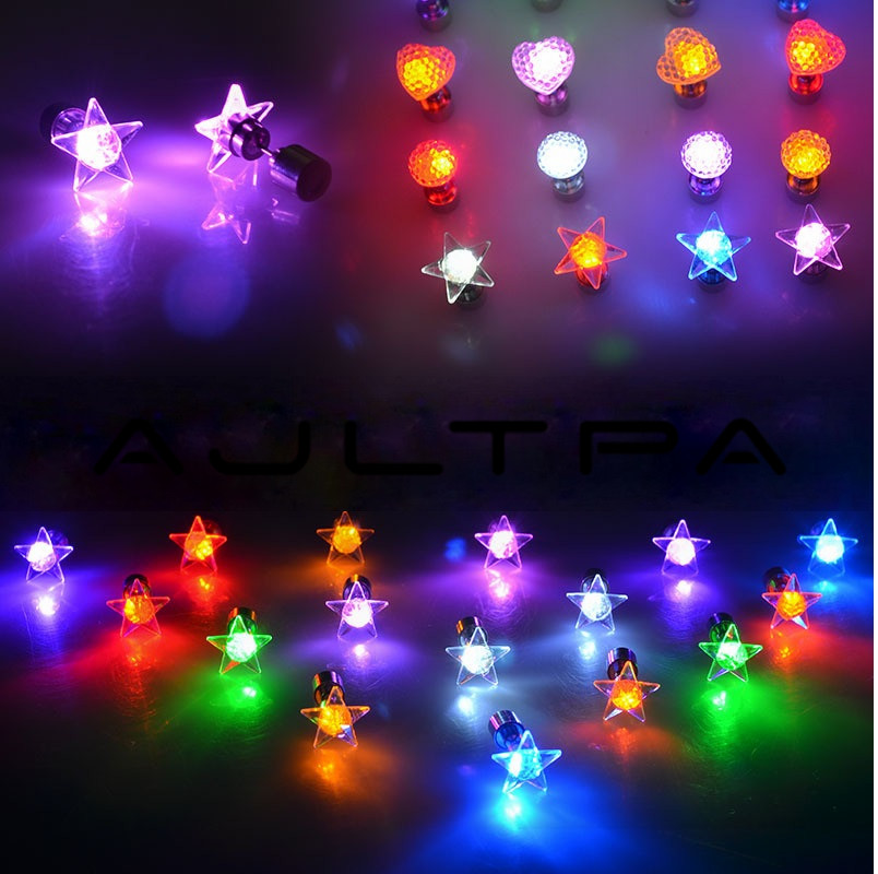 Charm LED Earring Light Up Star Glowing Crystal Stainless Ear Drop Round Stud Earrings Jewelry For Women Bar Nightclub Party