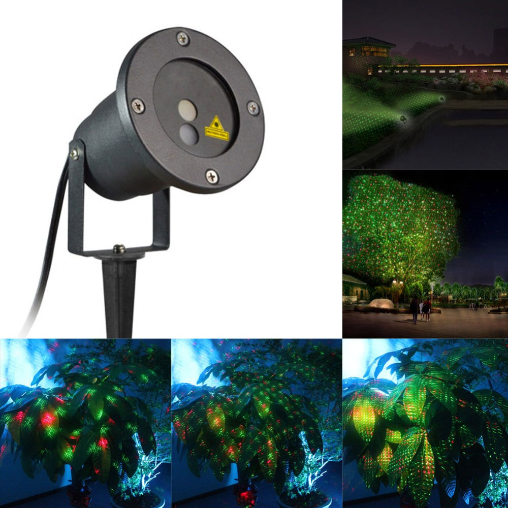 Rasha Dual Hole Outdoor IP65 Waterproof 150mW Red Green Moving Twinkle Laser Lights Projector Decorations for Garden Lawn Remote