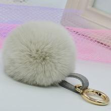 Purse Charm Rex Real Rabbit Fur Fluffy Keychain Keyring Gold Pom pom 8cm Ball Pendant Key chains holder Women Gift