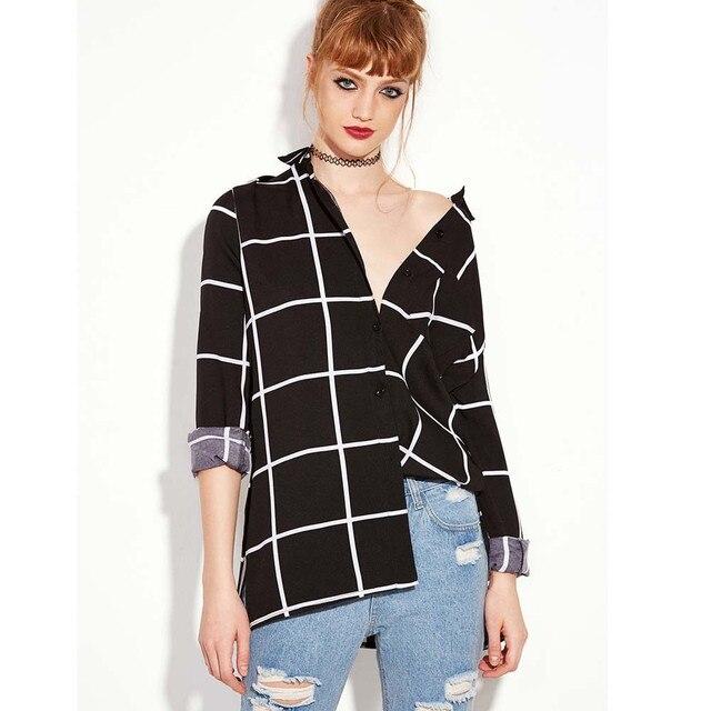 db9206a738bb09 Kobiety z długim rękawem Plaid koszula biuro bluzka kobiety odzież czarna  koszula Top Femme klasyczne koszule