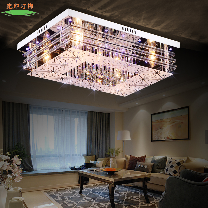 Online Shop India LED Ceiling Light Crystal Lamp Living Room Bedroom Lighting Fixtures Modern Minimalist Rectangle 8568