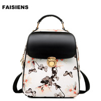 2017 Preppy Style Women Backpack Simple Casual Flower Butterfly Zipper Mini Travelling Bag Black And White