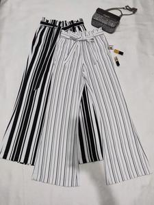 2019 New Classic Stripe Design simple and beautiful Elastic Waist Slim Straight Pants Look Long Legs and Super Thin