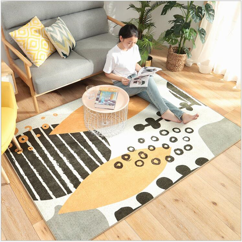 AOVOLL nordique abstrait sans cheveux tapis chambre tapis pour salon chambre tapis pour sol salon grands tapis doux