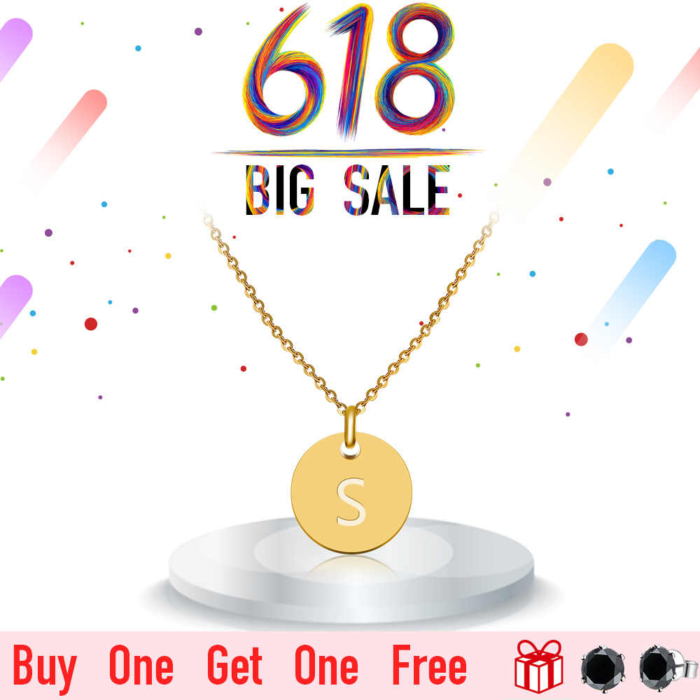 2018 New FINE4U N027 Disc Pendant Necklace Gold/Silver Letter Alfabet Necklace 316L Stainless Steel Chain Necklaces For Women