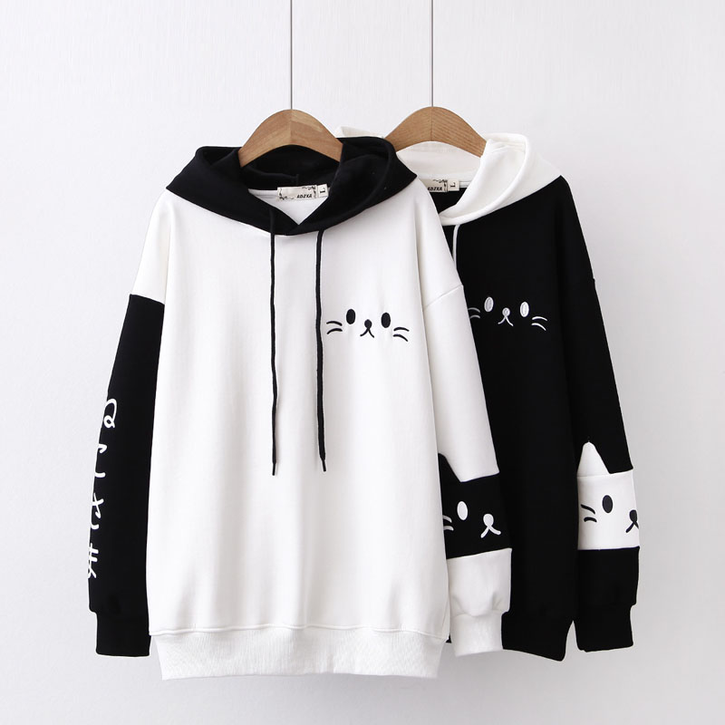 WXCTEAM Women Hooded Sweatshirts 2018 Autumn Long Sleeve Hit Color Pullover Femme Cartoon Cat Embroidery Harajuku Hoodies