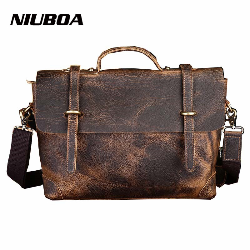 New Leather Bag Retro Crazy Horse Genuine Leather Men Classic Handbag Elephant Pattern Messenger Shoulder Bag Business Briefcase joyir men briefcase real leather handbag crazy horse genuine leather male business retro messenger shoulder bag for men mandbag