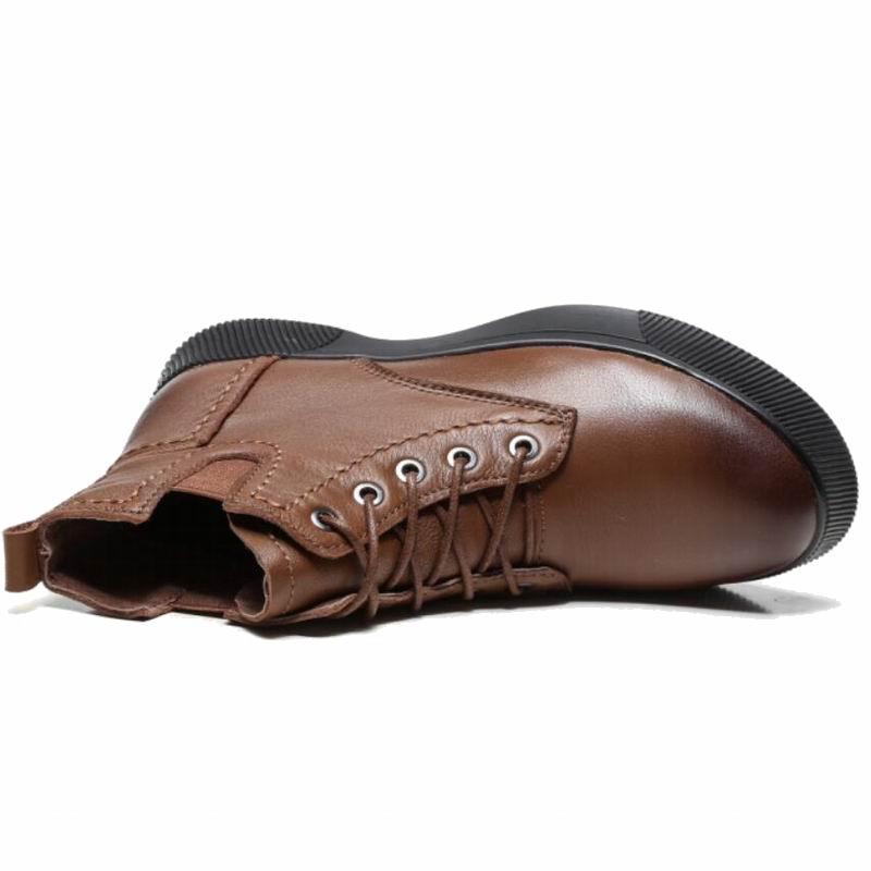 Bottines À Main marron Hiver Gktinoo Noir Plush Véritable With Plush black Souples De En L'intérieur Bottes La Chaussures Plates brown Peluche Cuir Femmes Rétro Y8q8fPw