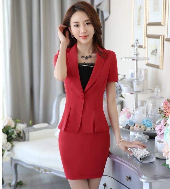 Plus Size 4XL 2016 Verão Professional Business Suits Casacos E Conjuntos de Saia Para Senhoras Escritório Desgaste do Trabalho Roupas Blazers