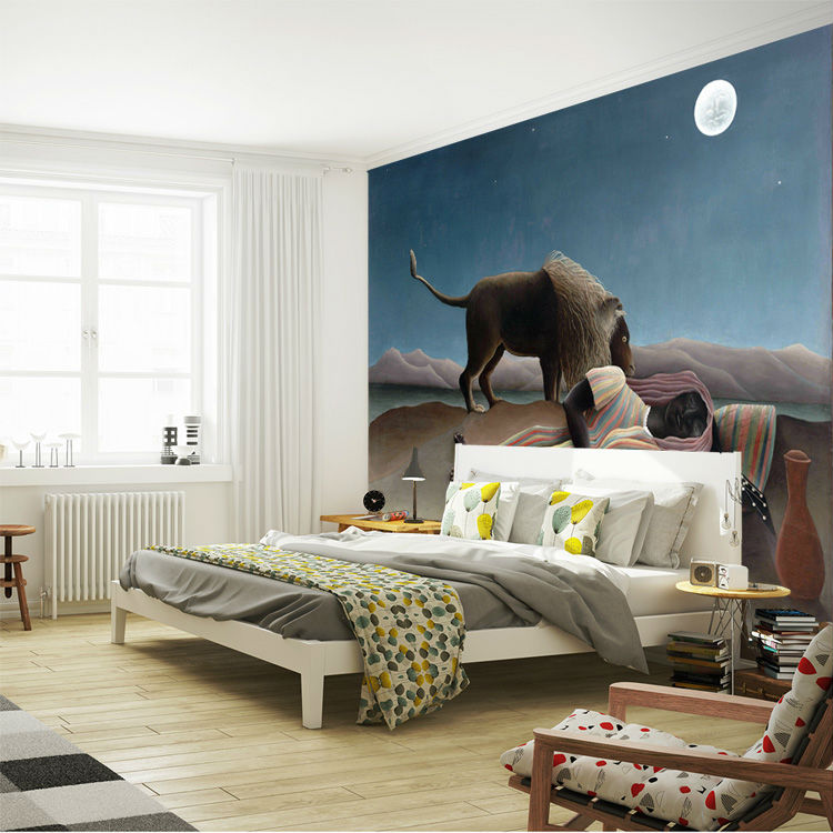 . US  17 0 37  OFF The Sleeping Gypsy Wall Murals Rousseau Painting Wallpaper  Custom 3D Photo wallpaper Art interior Bedroom Kid Room decor Hallway in