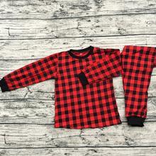 Хлопковые рождественские пижамы для мальчиков и девочек детские пижамы для девочек рождественские Семейные пижамы в клетку с буйвол