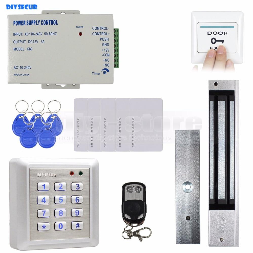 Фотография DIYSECUR Waterproof RFID Keyboard Access Control Full Kit Set 280KG Waterproof Magnetic Lock NC Mode for House / Office