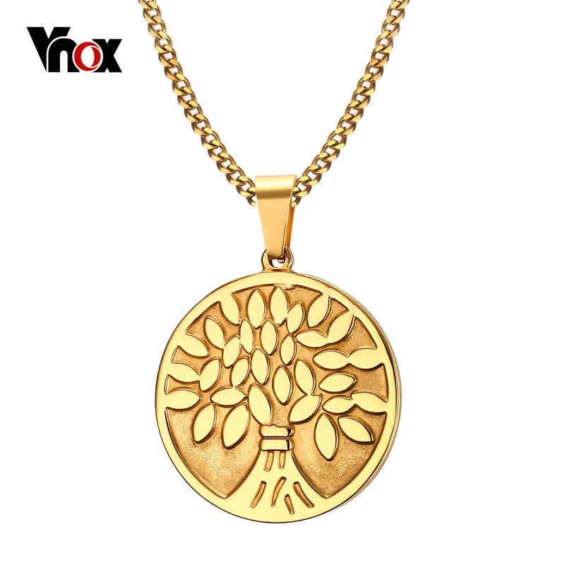 VNOX Tree of Life Necklace Women Jewelry Gold-Color 316l Stainless Steel Prayer Necklaces Free Chain a suit of chic chain necklaces for women