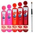 Hot Sale 5 Colors Lip Gloss Long Lasting Peel-off Mask Lipgloss Matte Lipstick Tint Pack Flexible Lip Brush Makeup