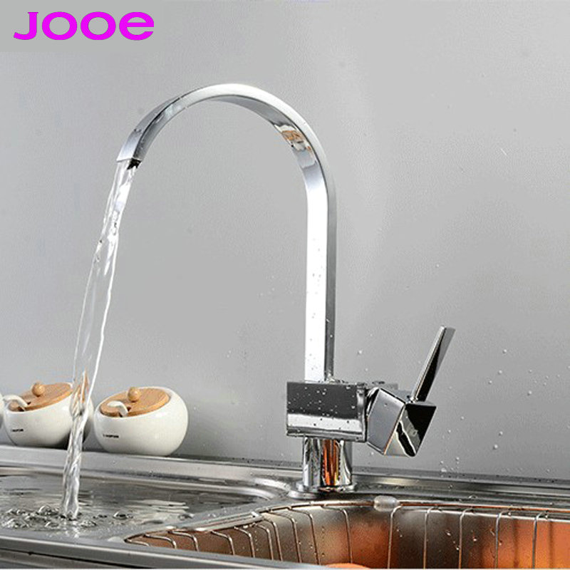 ФОТО JOOE Modern Luxury square Brass plate chrome kitchen faucet hot and cold mixer sink faucet 360 rotating water tap torneira LT01