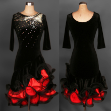 velvet flower Latin Dance costumes Modern Dance Dresses rhinestone red/black chacha/Tango/samba/Rumba Competition Dress