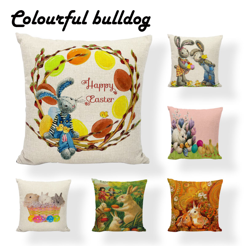 Knitted Colored Eggs Retro Charming Rabbit Cushion Cover Cartoon Settee Large Printed Home Decor Crowe Happy Easter Pillow Case