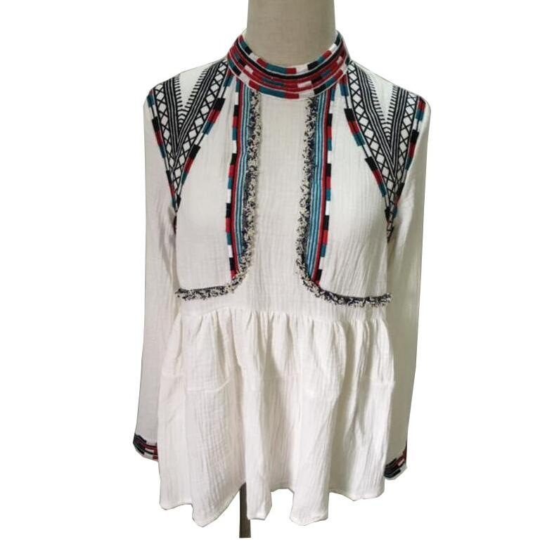 Special discount 2018 New Spring autumn Women Ethnic Embroidery Shirt - Women's Clothing