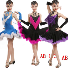 kid children professional latin Salsa dance dress Girls ballroom tango dresses C