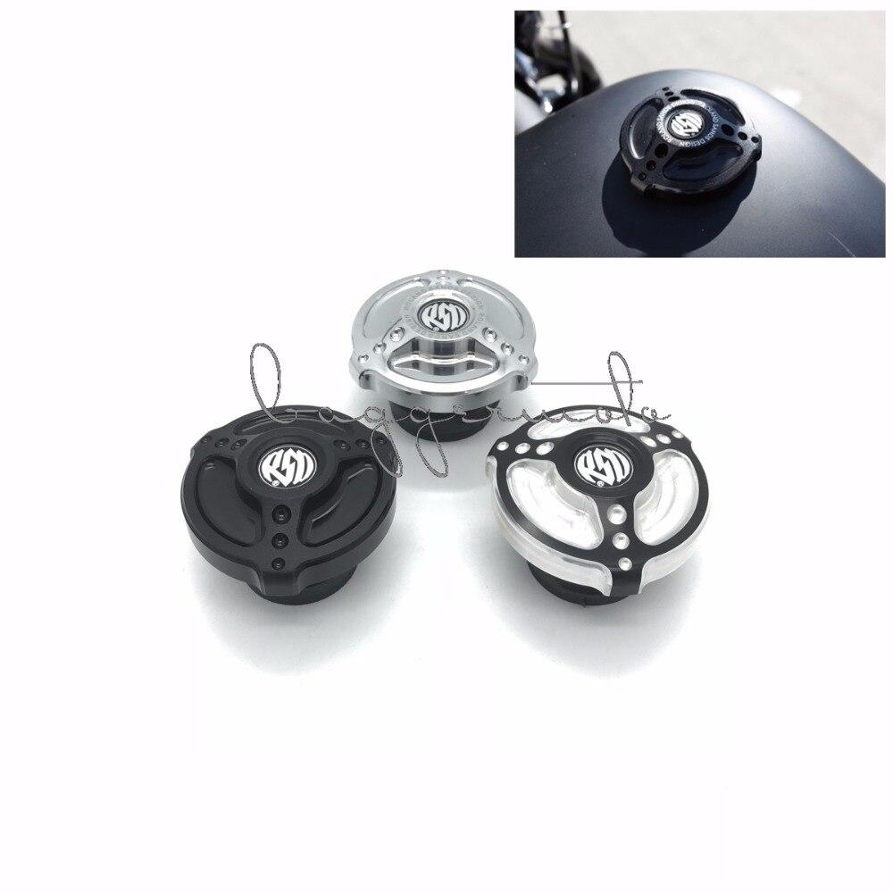 RSD nouveau produit bouchon de réservoir de gaz de carburant tout en aluminium noir CNC adapté pour Harley Sportster XL883 XL1200 48 Dyna Touring Softail