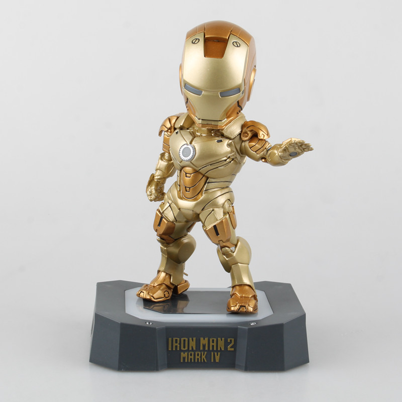 ФОТО Movie 17 CM Hot Sell 3 Colors Iron Man 2 Mark IV Egg Attack with LED Light PVC Action Figure Model Toy Collectibles