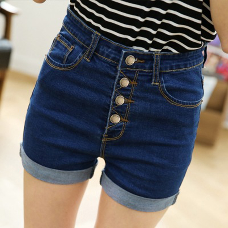 High Waist Denim Jeans Shorts Women Blue Slim Fit Sexy Jean Shorts Button Cuffs Designs Hip Up Pencil Pants Summer Beachwear z10 слинг шарф fil39 up s m blue jean джинсовый fil39 up на