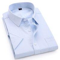 Мужская Повседневная рубашка с короткими рукавами, саржевая белая, синяя, розовая, черная, Мужская Облегающая рубашка для мужчин, соцрубашк...
