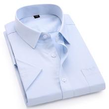 Para hombre vestido Casual Camisa de manga corta sarga blanco rosa azul negro hombre ajustado Fit camisa para hombres camisetas sociales 4XL 5XL 6XL 7XL 8XL