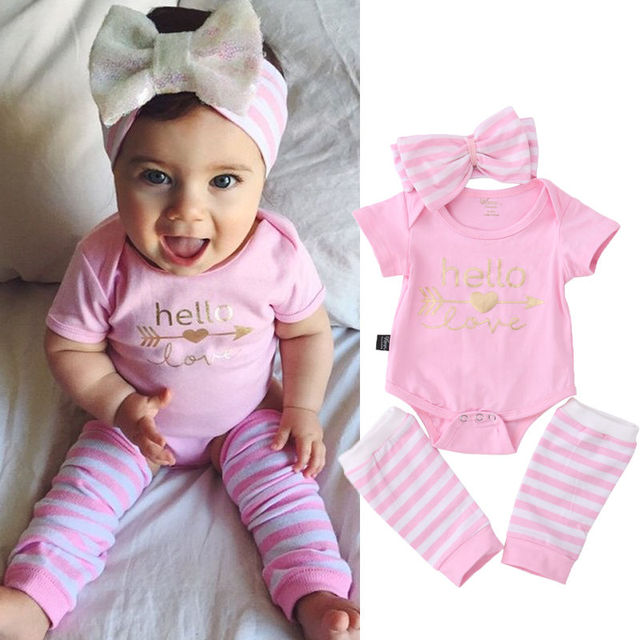 ecdd09cdb8e Newborn Baby Girl Pink Letter Love Arrow Bodysuits+Stripe Leg Warmers+Bow  Headband 3pcs Christmas Outfits Set Clothes