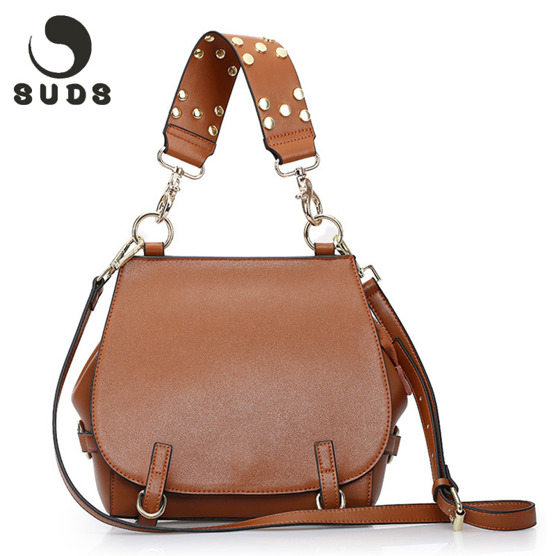 SUDS New Arrival Women Bag Genuine Leather Handbags Female 2017 Luxury Brand Women Messenger Bags Crossbody Real Leather Fashion 2017 new arrival designer women leather handbags vintage saddle bag real genuine leather bag for women brand tote bag with rivet