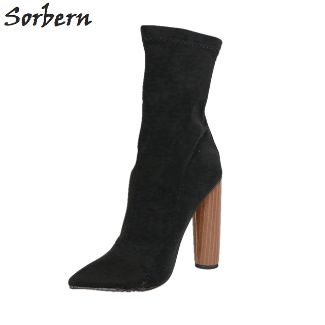 60a47dc6fc Sorbern Extra High Heels 13cm Women Boots Stretch Fabric Round Heels  Pointed Toe Large Size Ladies Shoes Ankle Boots for Women
