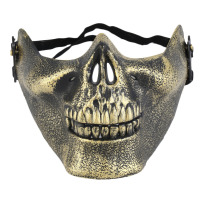 Unisex Skeleton Mask Half Face CS Actual Combat Warrior Face Masks Halloween Party, Cosplay,CS Field Golden/Silver/Copper Color