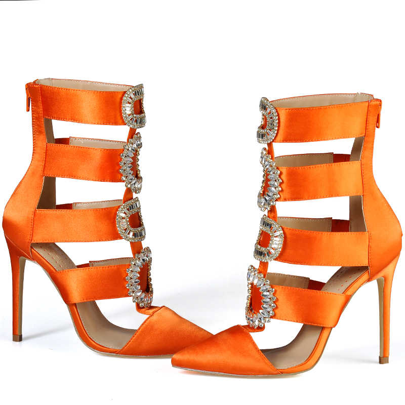 Roze Palmen Zomer Herfst Winter Schoenen Vrouwen Hoge Hakken Kristal Enkellaarsjes Puntschoen Sandalen Bruiloft schoenen Sexy Vrouwen sandalen