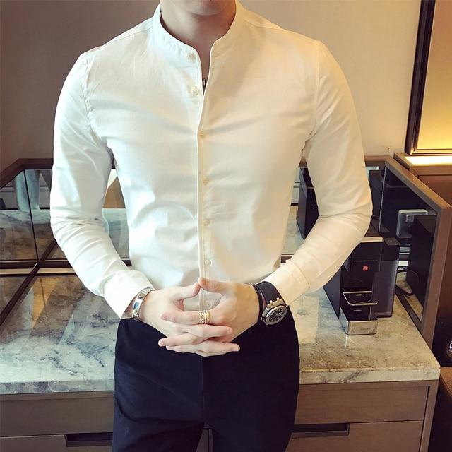 706ab613683e31d Белая рубашка с длинным рукавом, Мужская черная рубашка, приталенная рубашка  с воротником-стойкой