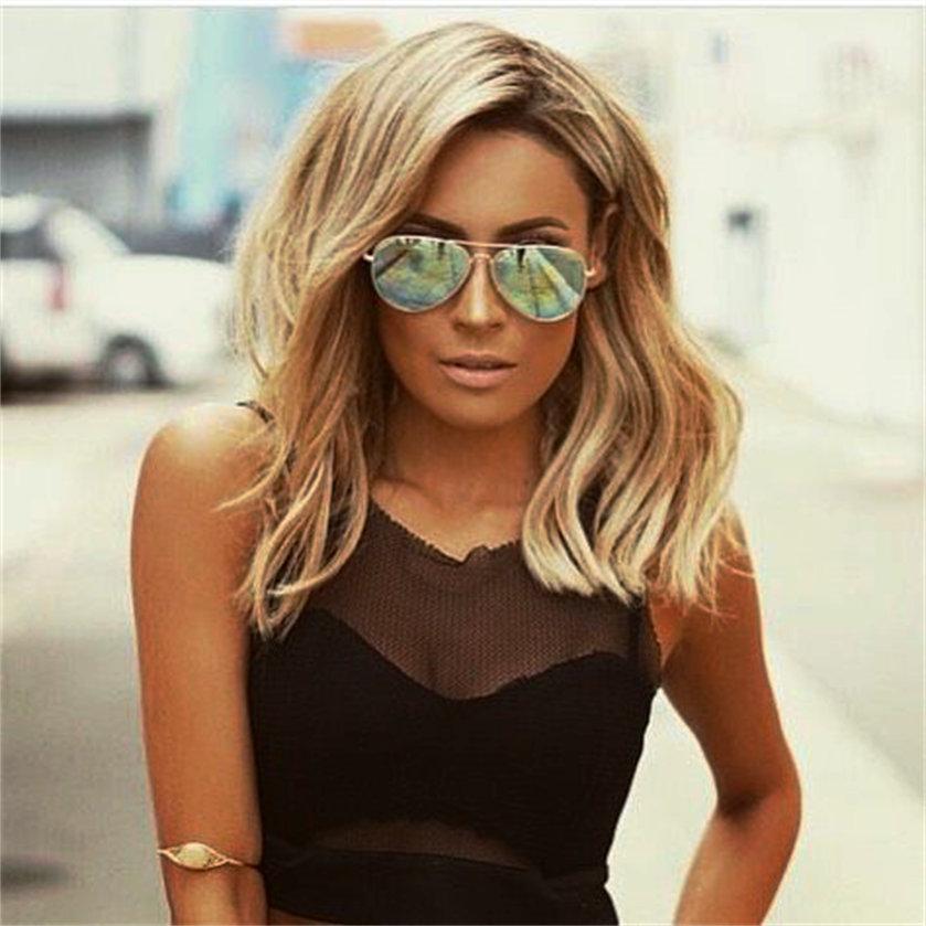 Astounding Aliexpress Com Buy Medium Length Bob Hairstyle Honey Blonde Wavy Short Hairstyles Gunalazisus