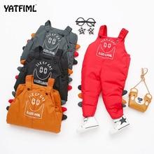 YATFIML dziecięce kombinezony zimowe dziecięce niemowlęce chłopięce bawełniane spodnie dziecięce na szelkach maluch grube ciepłe spodnie bebe