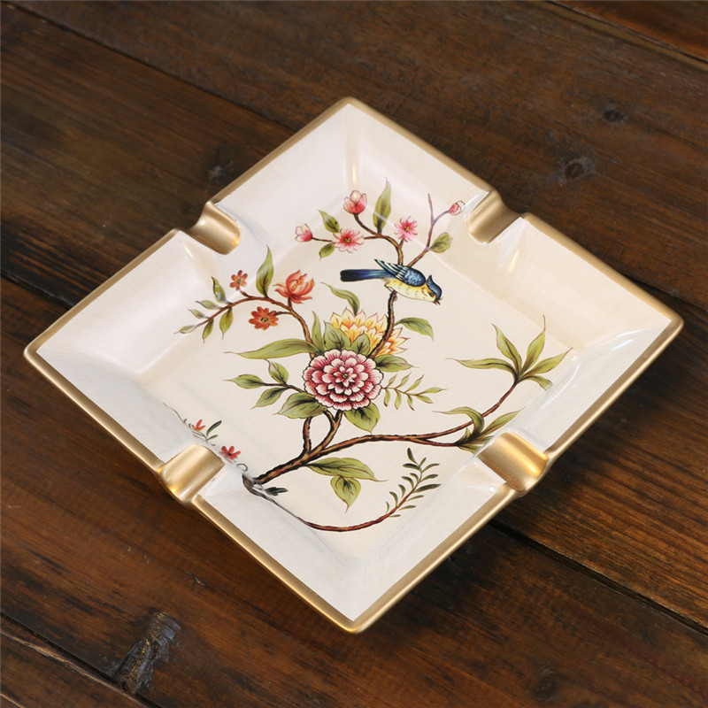 New Pattern! European Ceramic Crafts High-end Ice Crack Retro Kingfisher Square Creative Retro Ashtray Ceramic Ornaments