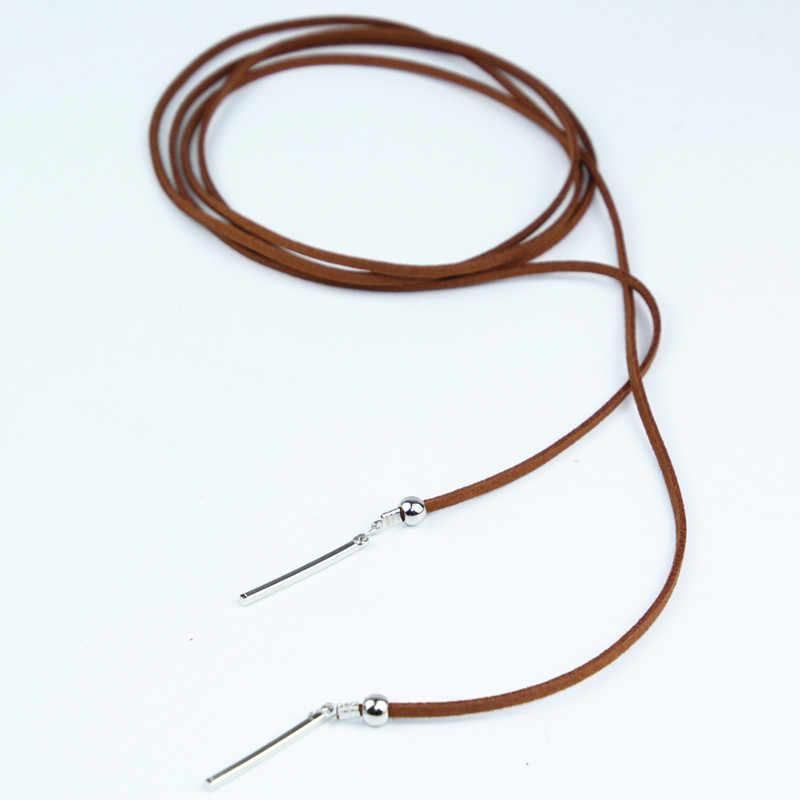 X150 Punk Gothic Lange Braun Samt Leder Kette Halskette Mode Schmuck Seil Kette Glocken Anhänger Quaste Choker Halsketten