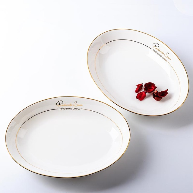 10in Premium Gold Plating on-glazed White Ceramic Egg-shaped Dish Hotel Fish Plate & 10in Premium Gold Plating on glazed White Ceramic Egg shaped Dish ...
