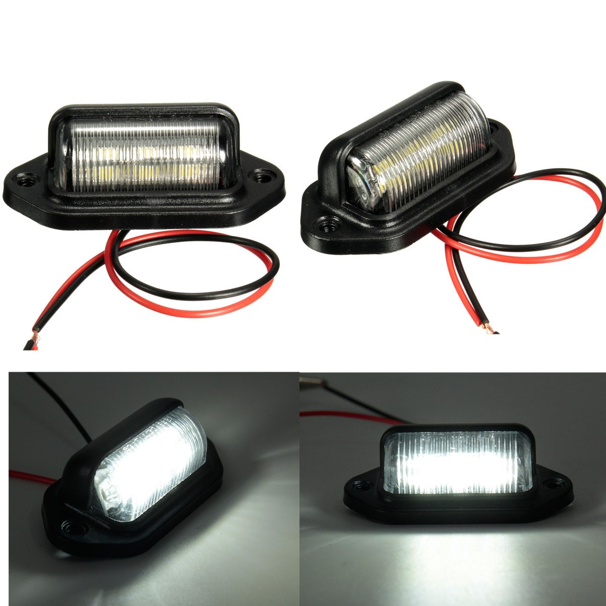 Number Plate Light License Plate Light Lamp Bulbs For Boats Motorcycle Automotive Aircraft RV Truck Trailer 12V 6LEDs(China)