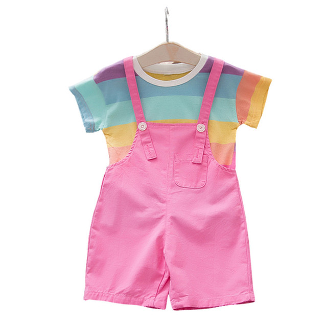 43d81c71bcc2d 2pcs Summer Newborn Baby Girl Clothes Rainbow stripe Tops With Bib Pants  Back Wings Cute Girls Set Bebe For 0 4 Year