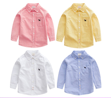 Baby Boys 100% cotton long sleeve shirt 2017 Spring  Autumn International children's clothing Kids clothe baby solid color shirt