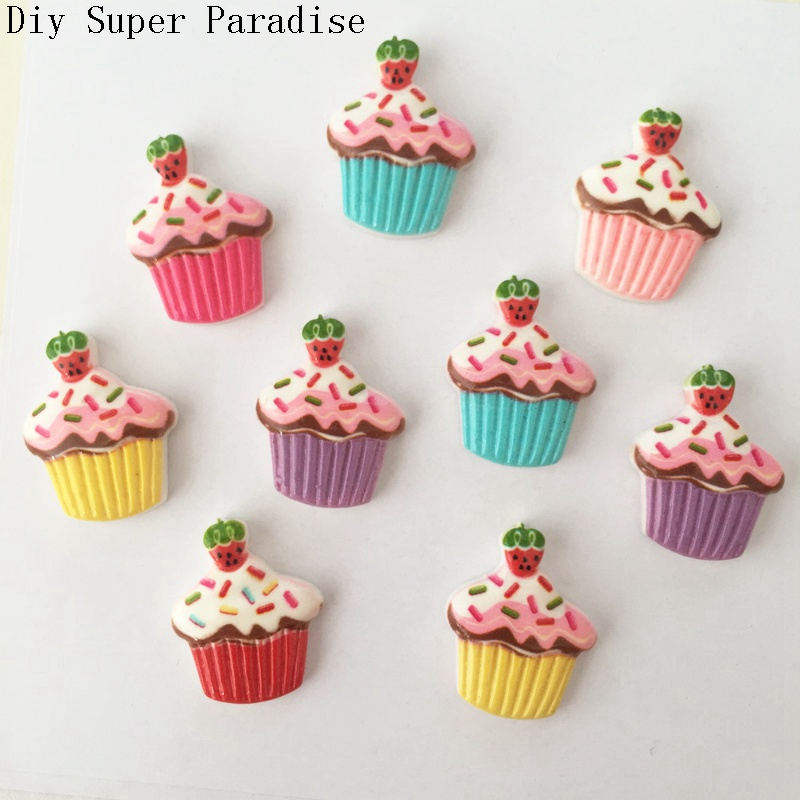 Hot 10PCS 17*22mm Resin Strawberry Cake Flatback Stone Embellishment DIY Crafts Scrapbook K46