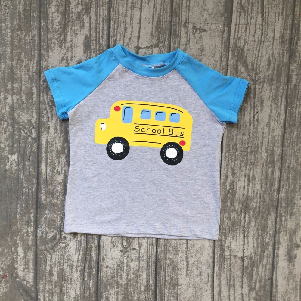 new arrival baby boys school bus t shirts children boys back to school top raglans boys summer cotton t shirts boutique outfits