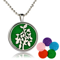 New 32mm unopenable tree pattern hollowed pendant go with 30mm felt pad oil diffuser necklace fashion jewelry