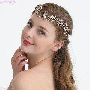 Image 3 - Jonnafe Cổ Vàng Hoa Cô Dâu Mũ Trụ Lá Đầu Cưới Tiara Tóc Cây Nho Phụ Kiện Handmade Nữ Tóc Trang Sức